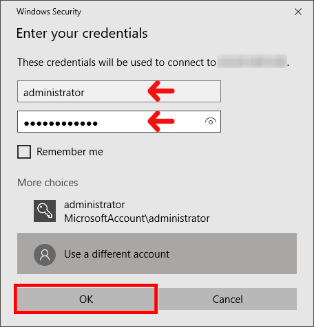 enter login details to Connect To A Windows VPS Or RDP