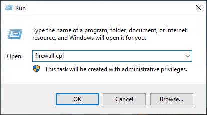 open Windows firewall GUI through Run