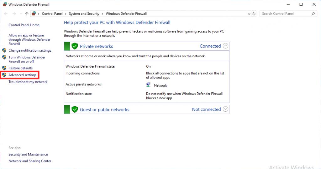 open a port on the Windows VPS firewall through Windows Firewall GUI