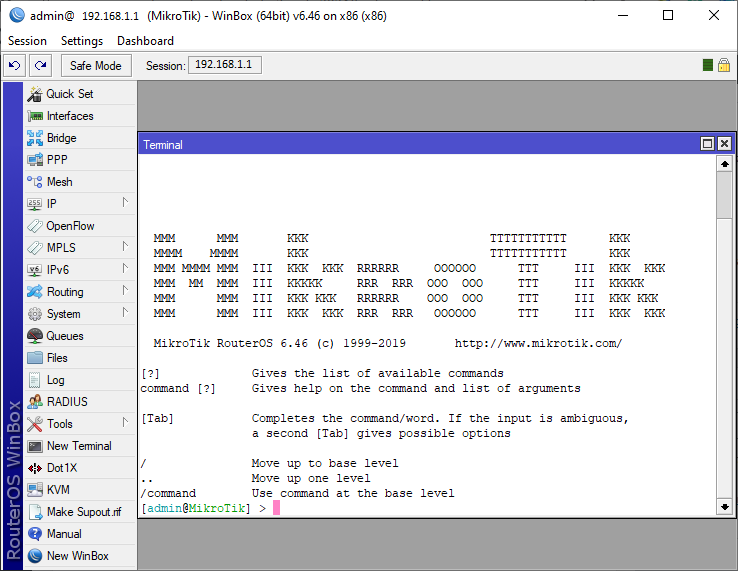 Winbox UI mikrotik
