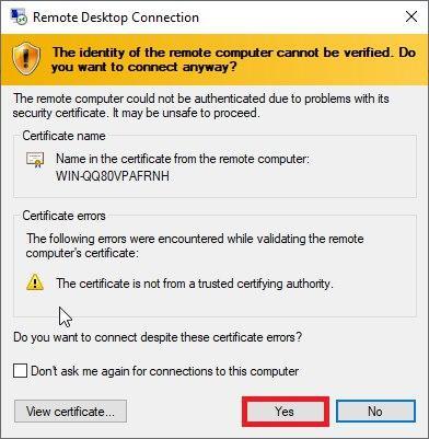 Remote desktop trusted certificate