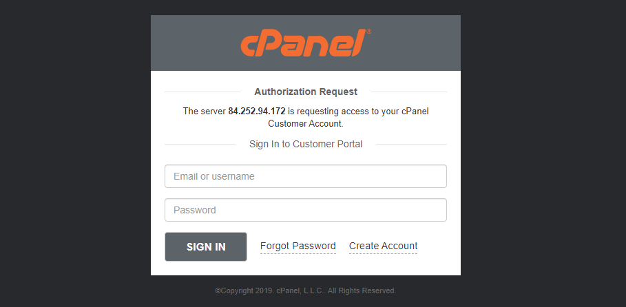 Login or sign up to create cPanel free license