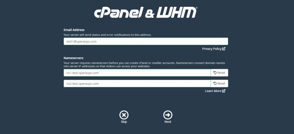 WHM first basic Configuration step (add email address and set name-servers)