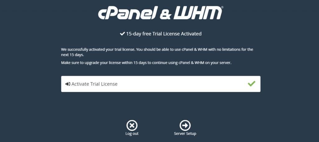 WHM free 15 days License Activated