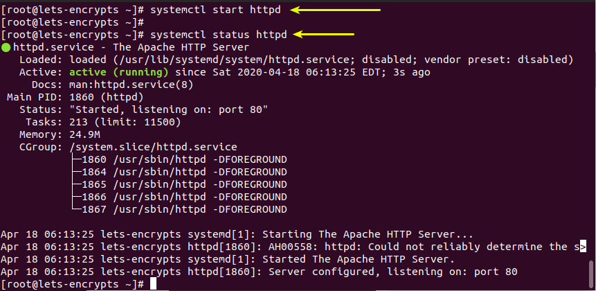 Start httpd service