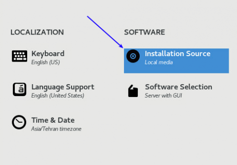 installation source setting when installing centos 8