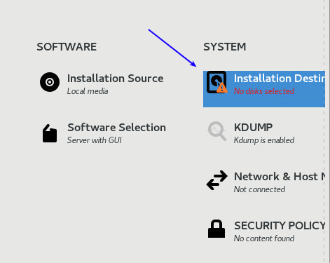 setting installation destination when installing centos 8