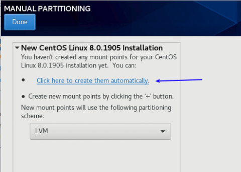 create partition automatically when installing centos 8