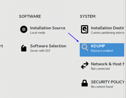 choosing kdump when installing centos 8