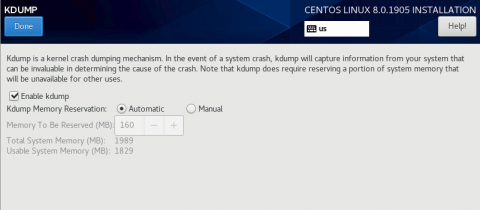 kdump setting when installing centos 8