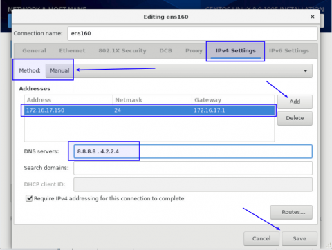 static network setting when installing centos 8