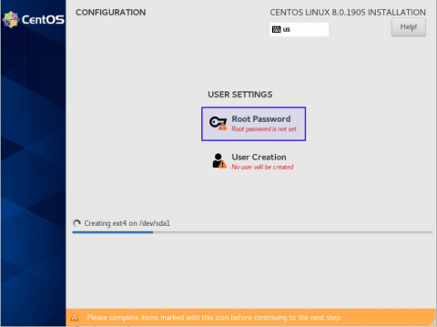 user setting when installing centos 8
