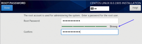 setting password when installing centos 8