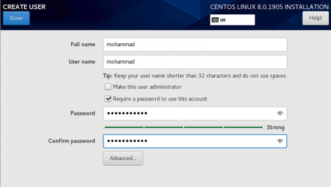 setting username when installing centos 8