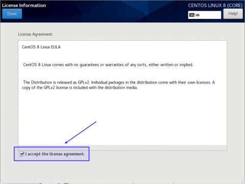 accept license when installing centos 8