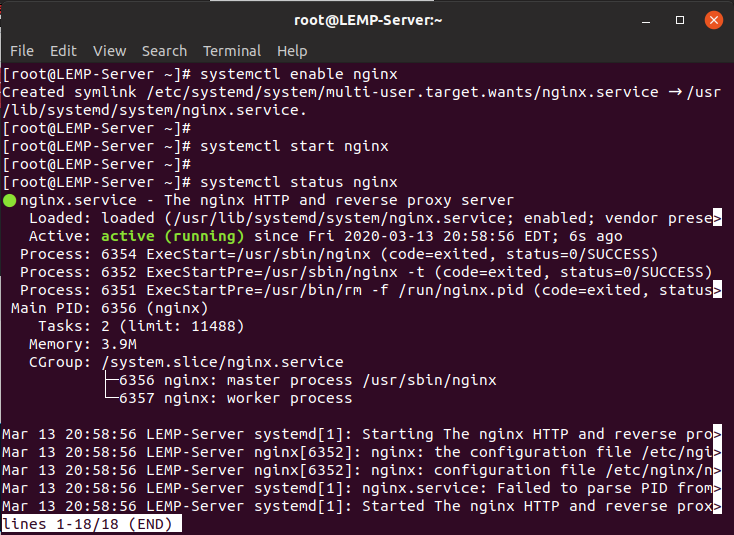 Nginx automatic start command