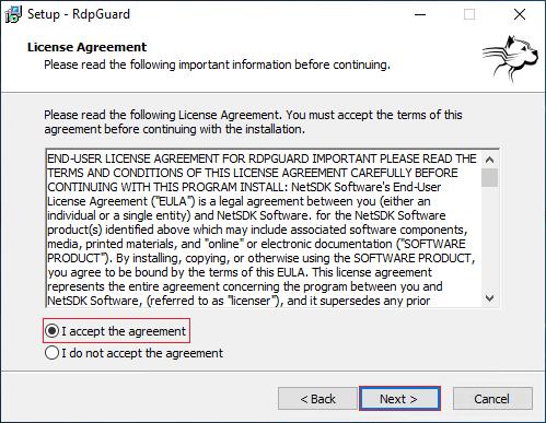 RdpGuard Setup Agreement