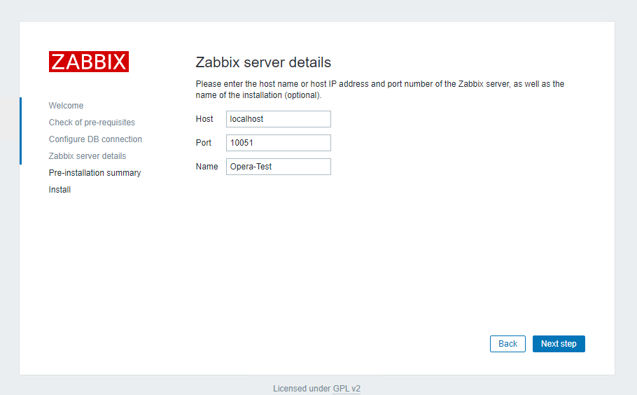 Choose a name for the installed Zabbix