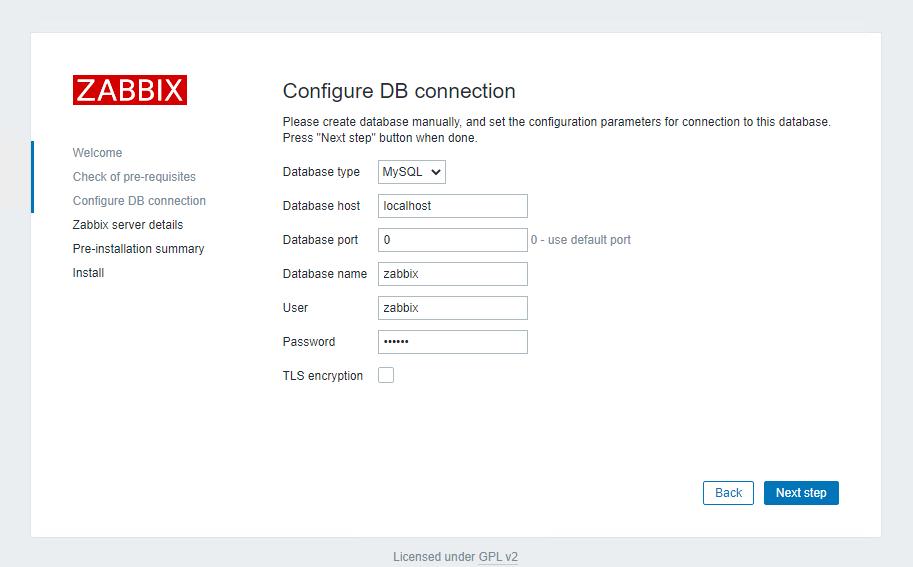 Configure DB connection in Zabbix
