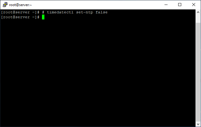 Disable synchronization with NTP server in Linux