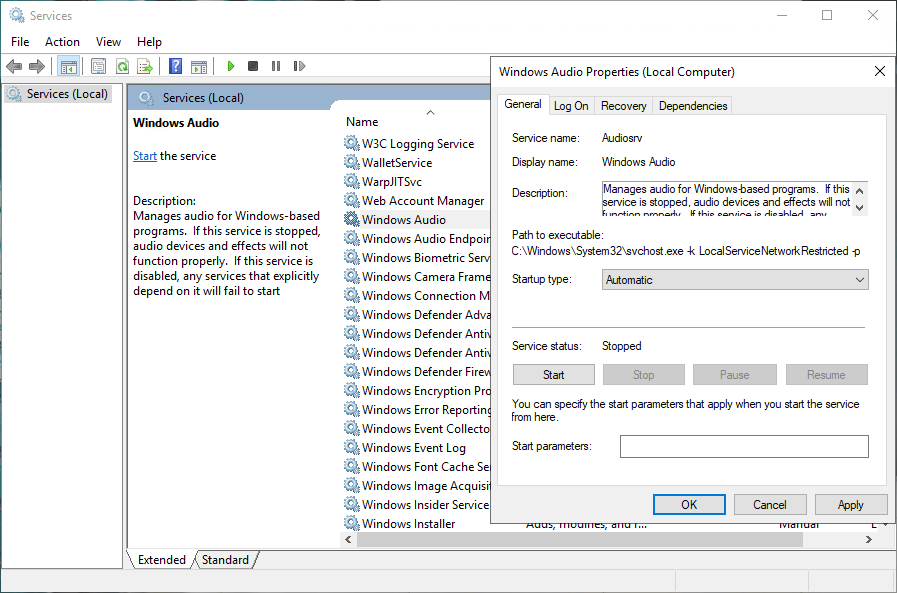Enable sound in Windows Server