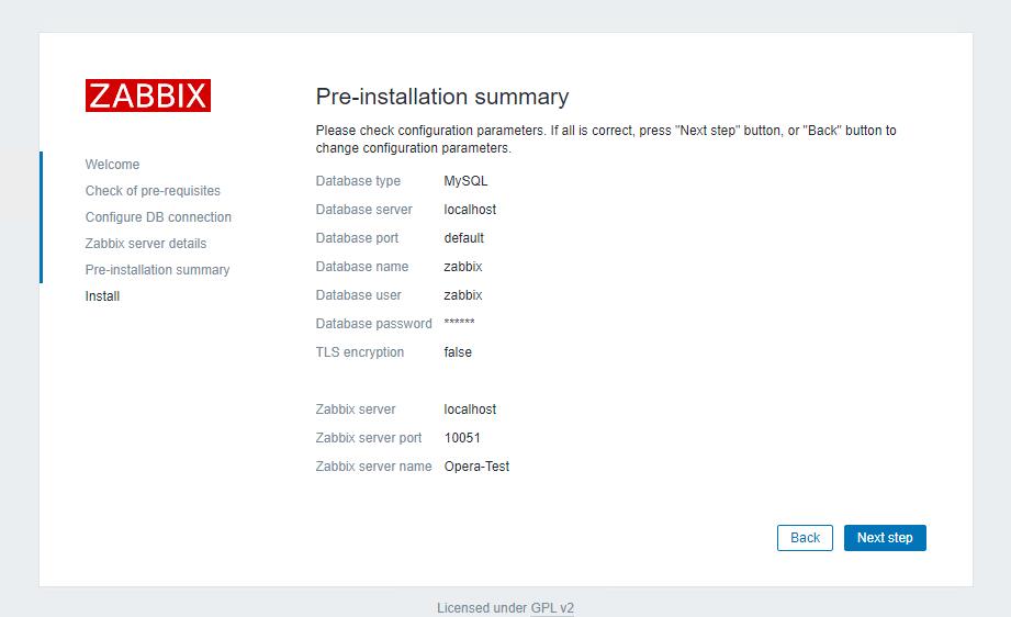 Pre-installation summary of Zabbix