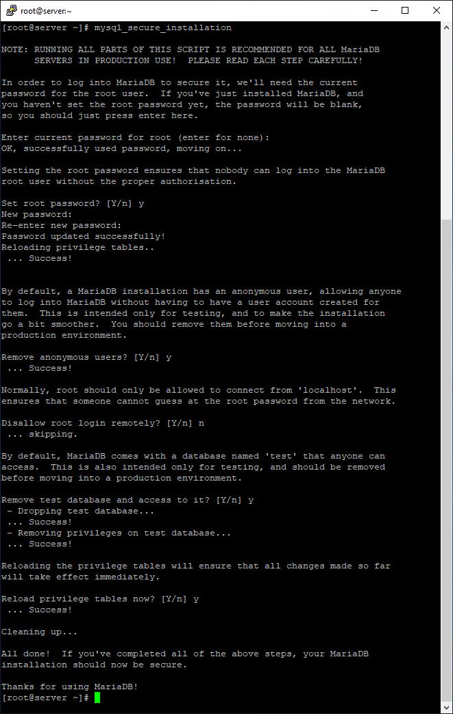 Secure MariaDB database