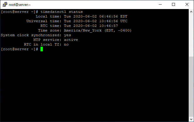 See time using timedatectl on Linux