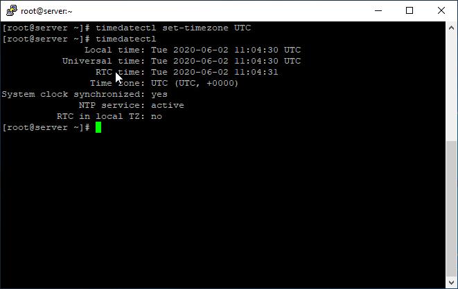 Set UTC in Linux