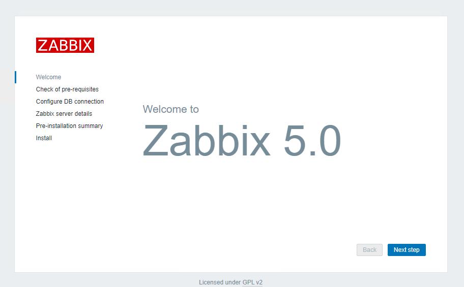 Zabbix welcome page
