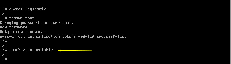 enable the SELinux after reset the password on centos 8