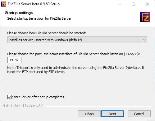 Select startup behaviour for FileZilla server