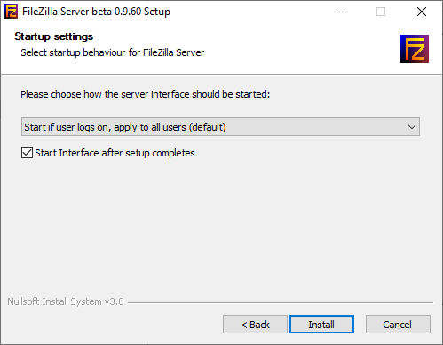 choose how the filezilla interface should be started