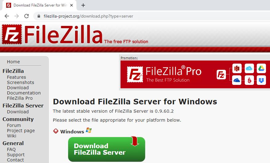 download filezilla server