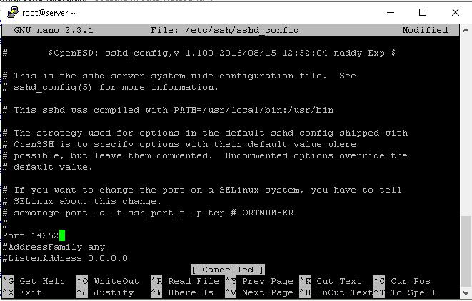 change ssh port in sshd