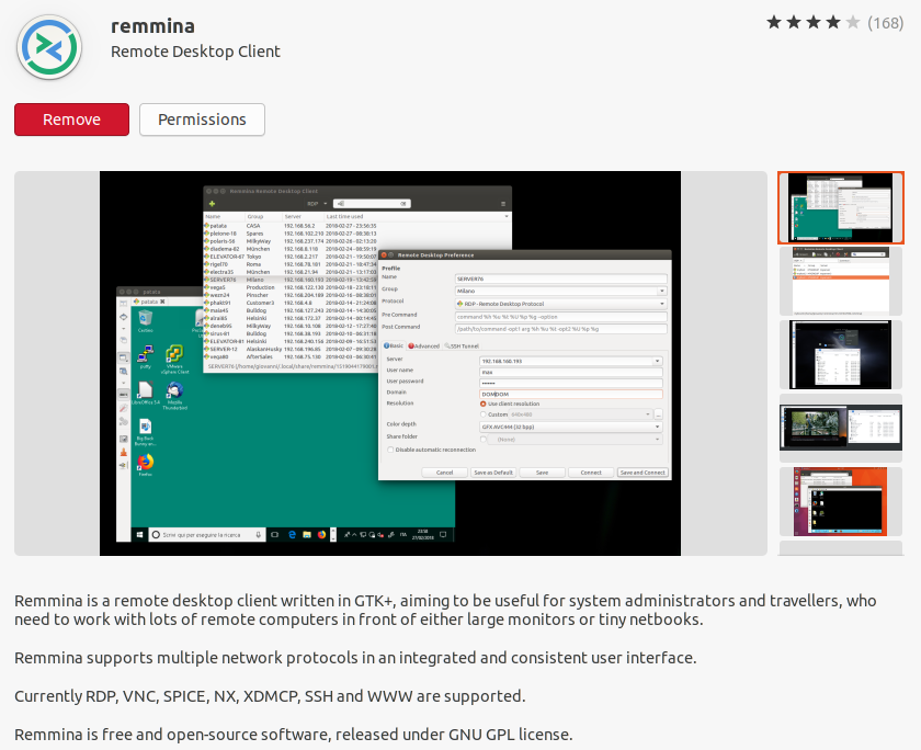 Install Remmina From ubuntu Software