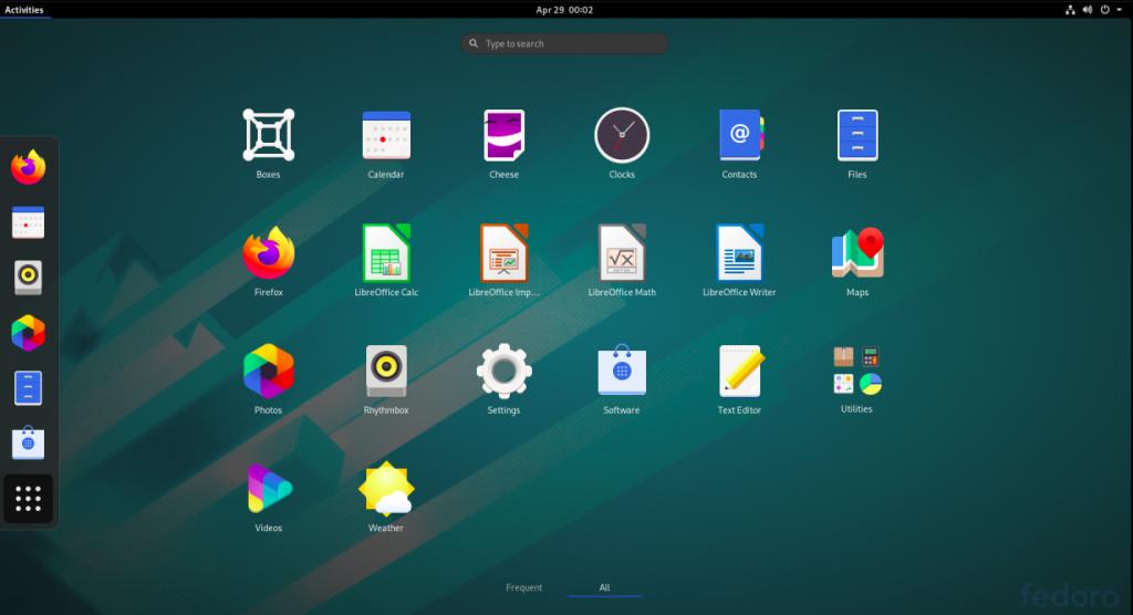 Linux Fedora Desktop