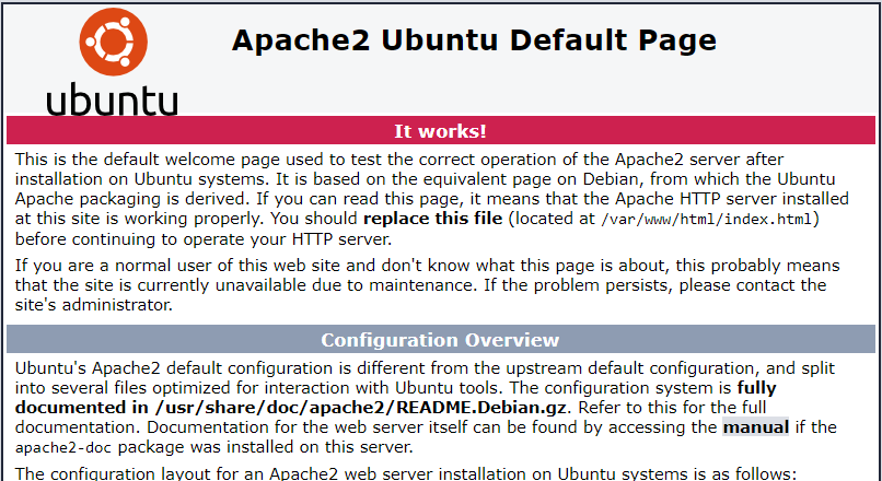 apache web interface after you install lamp on ubuntu 18