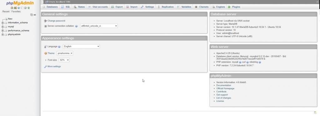 phpmyadmin wen interface