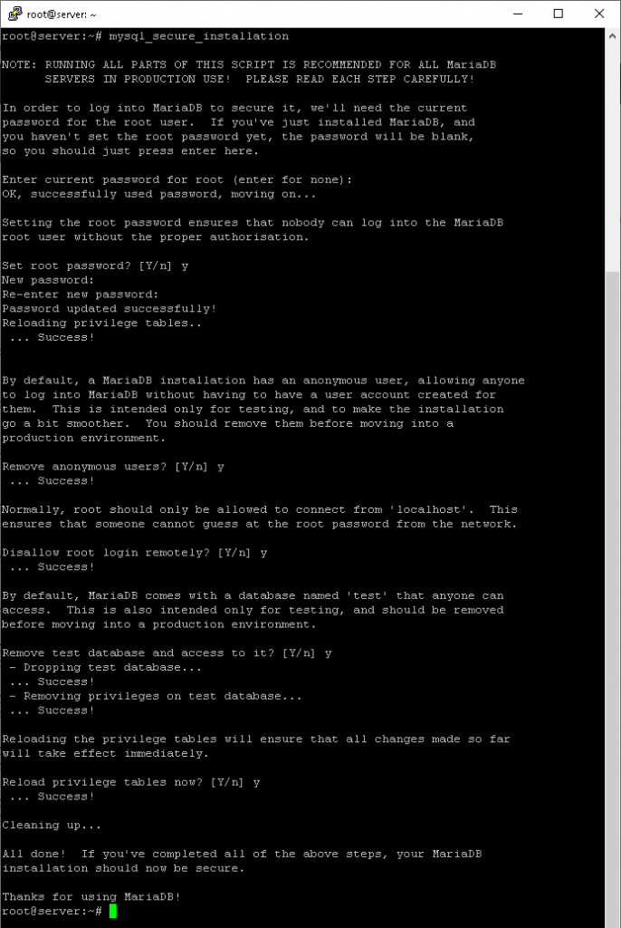 secure mariadb when you install lamp on ubuntu 18