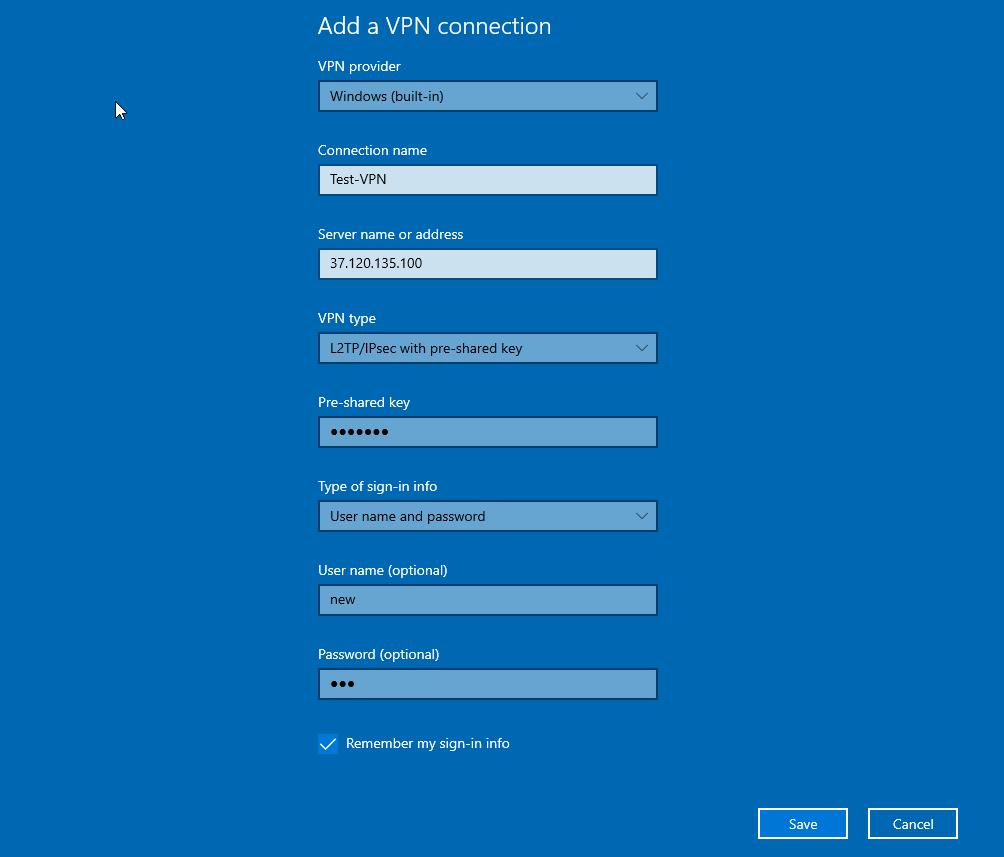 add l2tp vpn client in Windows 10