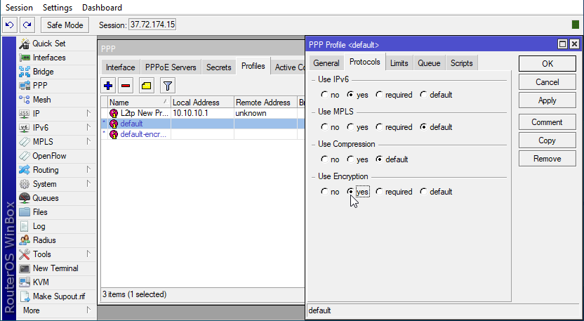 edit profile in MikroTik VPS