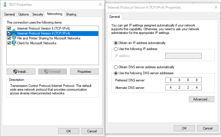 web surf issue after creating l2tp vpn client in windows 10