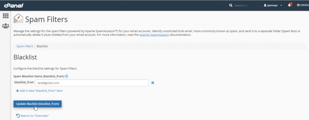 add email address in cPanel blacklist