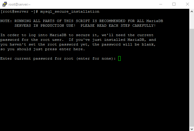 1 mysql secure installation 1