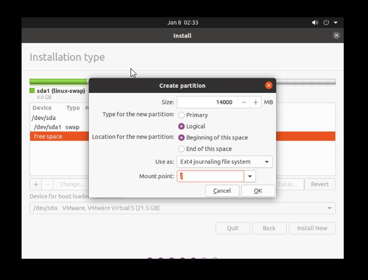 Allocate root memory when you install ubuntu alongside windows 10