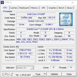 get the server's hardware details CPU-Z