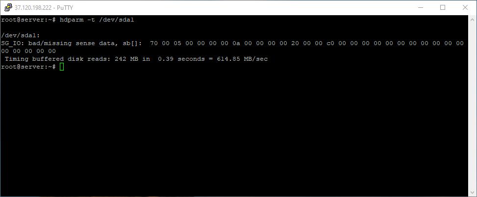 Disk speed test result in Debian