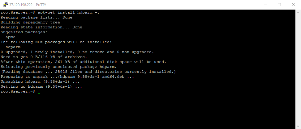 Install hdparm tool to test disk speed in Linux Debian
