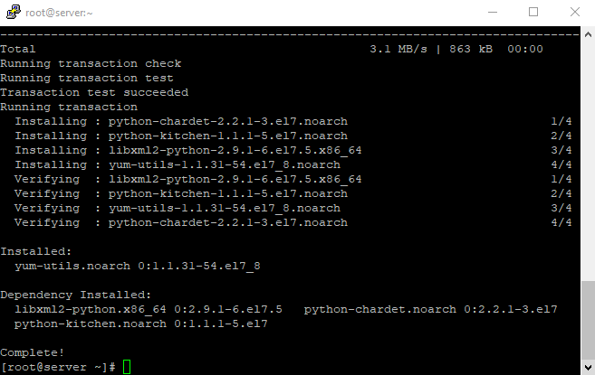 Install yum utils packages completed install